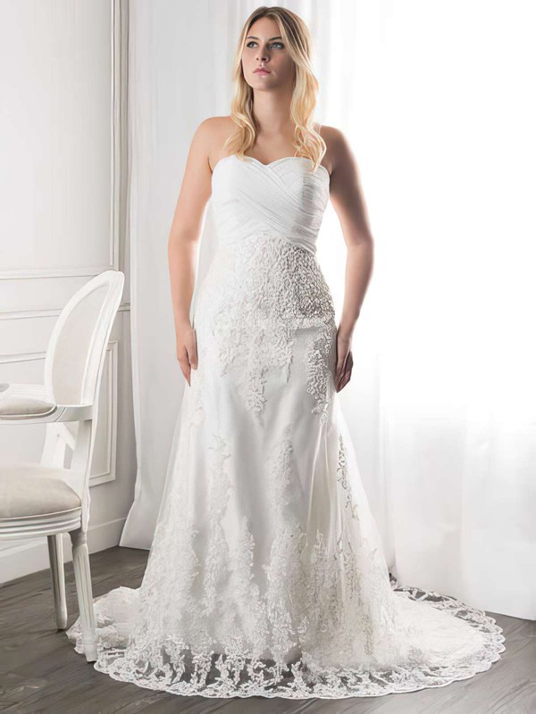 Elegant White Sweetheart Ruffles Lace Court Train Wedding Dresses #PWD00021272