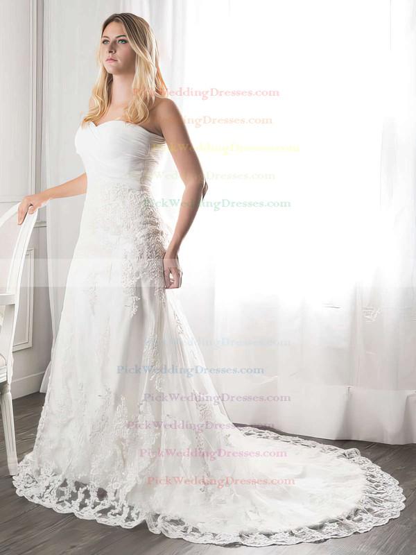 Elegant White Sweetheart Ruffles Lace Court Train Wedding Dresses #PWD00021272