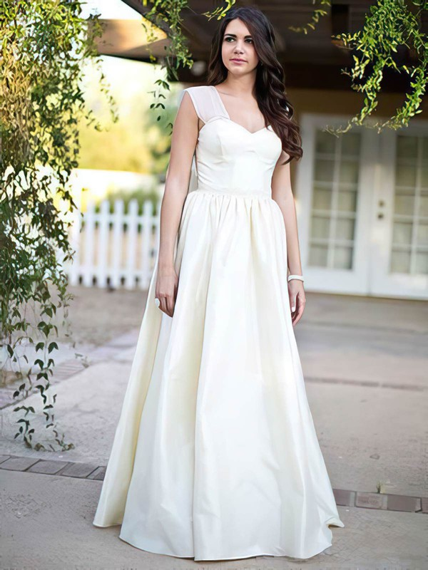 Princess Taffeta Sweetheart Straps Bow Ivory Classic Wedding Dresses #PWD00021279