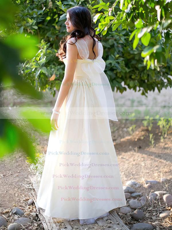 Princess Taffeta Sweetheart Straps Bow Ivory Classic Wedding Dresses #PWD00021279