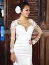 Trumpet/Mermaid White Tulle V-neck Appliques and Open Back Long Sleeve Wedding Dress #PWD00021282