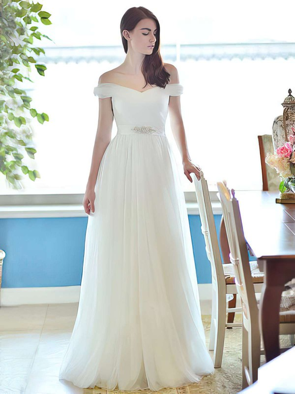 Ivory Tulle Straps with Sashes/Ribbons Elegant Off-the-shoulder Wedding Dress #PWD00021284