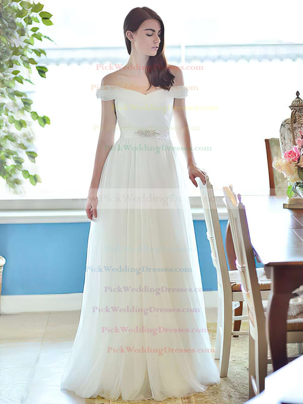 http://www.pickweddingdresses.com/ivory-tulle-straps-with-sashes-ribbons-elegant-off-the-shoulder-wedding-dress-pwd00021284-p1160.html?utm_source=post&utm_medium=PWD007&utm_campaign=blog