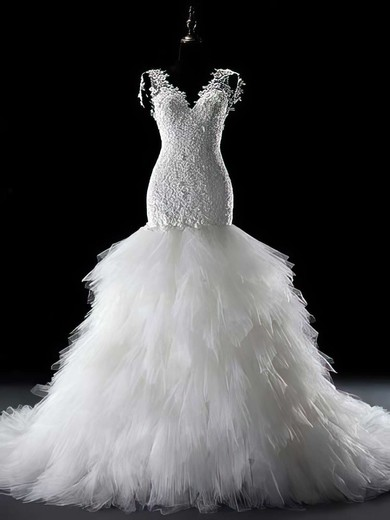 Gorgeous V-neck Trumpet/Mermaid Lace Tulle Lace-up Chapel Train Wedding Dress #PWD00021291