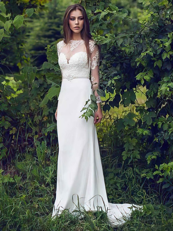 Classy Sheath/Column White Scoop Neck Chiffon Lace Long Sleeve Wedding Dresses #PWD00021297