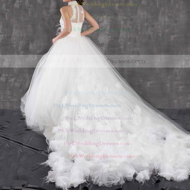Stunning Ball Gown White Tulle Appliques and Feathers High Neck Wedding Dresses #PWD00021299