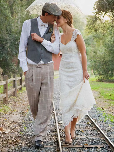 Ivory Lace with Cap Straps Sweetheart Sheath/Column Gorgeous Wedding Dress #PWD00021301