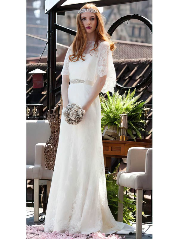 Trumpet/Mermaid Scoop Neck Classic Lace Sashes / Ribbons Wedding Dresses #PWD00021302