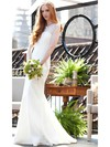 Trumpet/Mermaid Sweep Train Lace Flower(s) Scoop Neck Wedding Dresses #PWD00021303