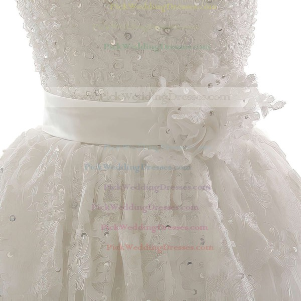 Ball Gown One Shoulder Ivory Tulle Appliques Lace and Sequins Lace-up Wedding Dress #PWD00021305