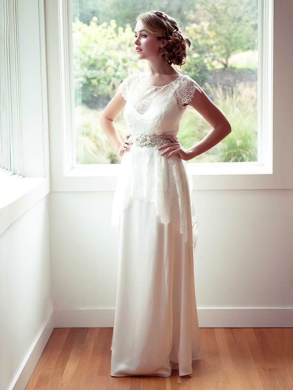 Scoop Neck Ivory Chiffon Lace with Cap Straps Nicest Wedding Dresses #PWD00021315