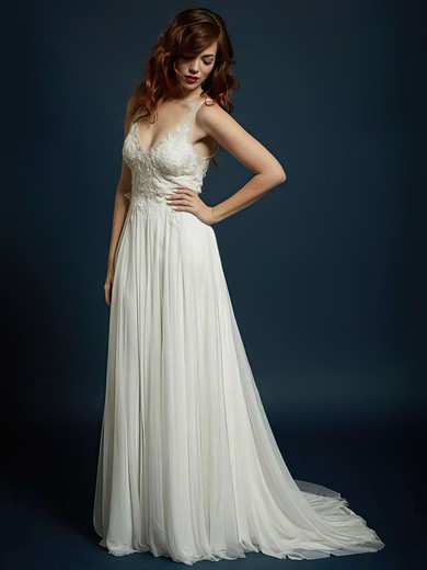 Popular Open Back Ivory Chiffon with Appliques Lace V-neck Wedding Dress #PWD00021327