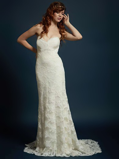Newest Ivory Lace Sweetheart with Buttons Trumpet/Mermaid Wedding Dress #PWD00021328