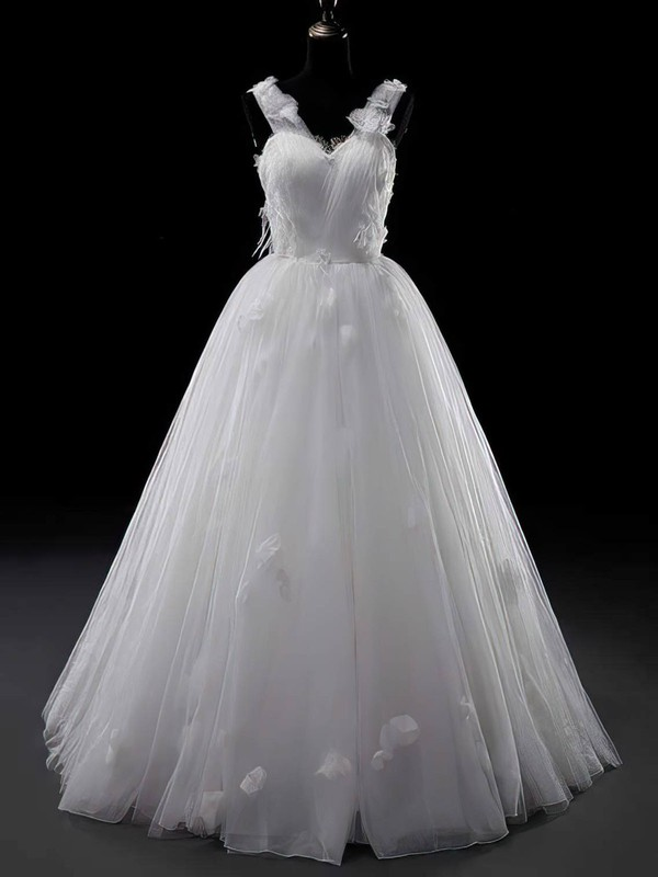 Beautiful V-neck White Tulle Flower(s) Lace-up Ball Gown Wedding Dresses #PWD00021329