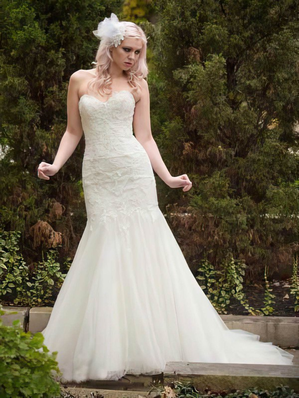 Amazing Ivory Tulle Sweetheart Appliques Lace Trumpet/Mermaid Wedding Dresses #PWD00021336