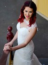 Chapel Train White Scoop Neck Lace Buttons Trumpet/Mermaid Stunning Wedding Dresses #PWD00021340