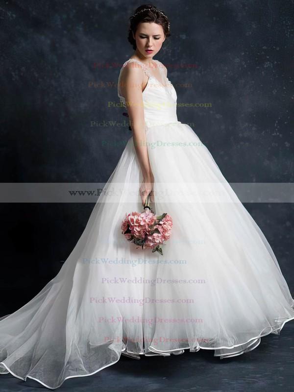 Elegant Ivory Tulle V-neck Pearl Detailing Court Train Sleeveless Wedding Dress #PWD00021345