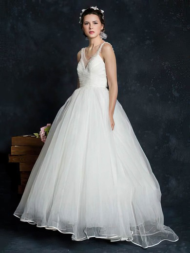 Elegant Ivory Tulle V-neck Pearl Detailing Court Train Sleeveless Wedding Dress #PWD00021345