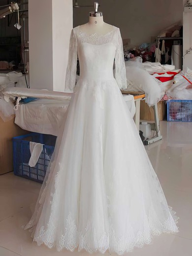 Ball Gown White Lace Tulle 3/4 Sleeve Covered Button Scoop Neck Wedding Dress #PWD00021346