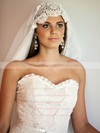 Trumpet/Mermaid Sweetheart Ivory Chiffon Lace Sashes/Ribbons Modest Wedding Dresses #PWD00021347