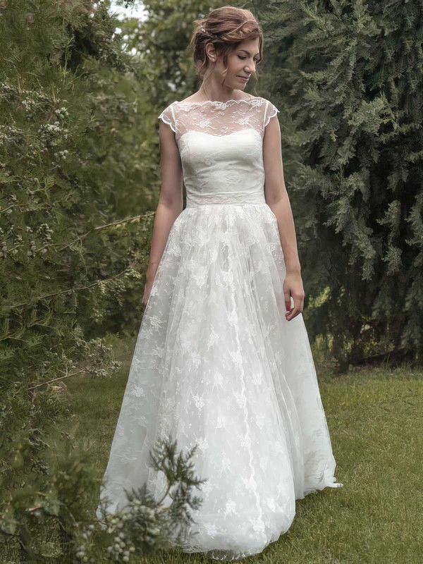 Elegant A-line Ivory Scoop Neck Sashes/Ribbons Lace Wedding Dresses #PWD00021349