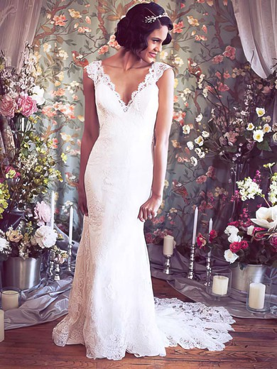 V-neck Straps Ivory Lace Buttons Amazing Trumpet/Mermaid Wedding Dresses #PWD00021351