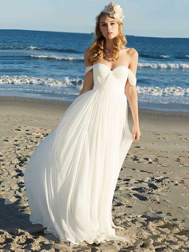 A-line Floor-length Chiffon Ruffles Off-the-shoulder Wedding Dresses #PWD00021352