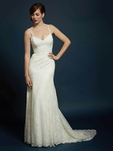 Sweetheart with Spaghetti Straps Backless Ivory Trumpet/Mermaid Lace Wedding Dress #PWD00021353