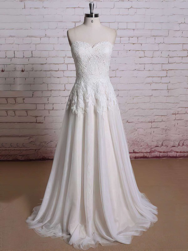 Classy Ivory Lace Chiffon Sweetheart Flower(s) Zipper Ball Gown Wedding Dresses #PWD00021354