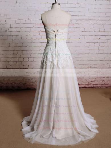 Classy Ivory Lace Chiffon Sweetheart Flower(s) Zipper Ball Gown Wedding Dresses #PWD00021354