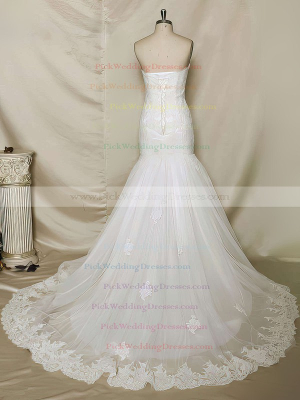 Stunning Trumpet/Mermaid Chapel Train Ivory Lace Tulle Lace-up Appliques Lace Wedding Dress #PWD00021356