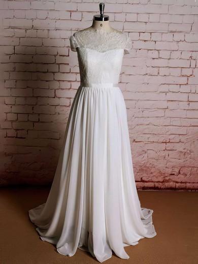 Scoop Neck Ivory Lace Chiffon Ruffles Cap Straps Sweep Train Wedding Dresses #PWD00021357