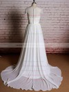 Scoop Neck Ivory Lace Chiffon Ruffles Cap Straps Sweep Train Wedding Dresses #PWD00021357