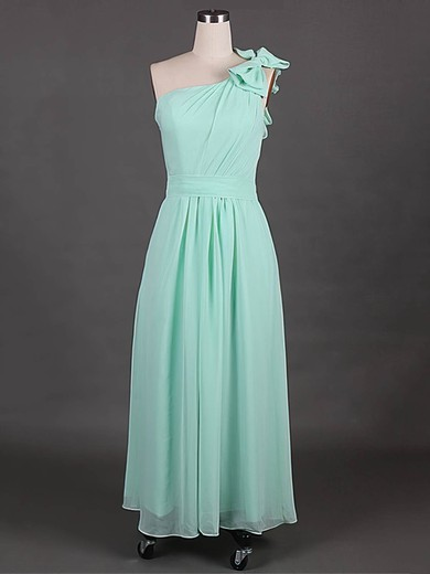 Sage Chiffon with Beautiful Bow A-line One Shoulder Bridesmaid Dress #PWD01012385