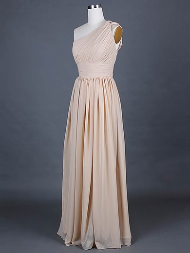 A-line Floor-length Chiffon Ruffles One Shoulder Bridesmaid Dresses #PWD01012386