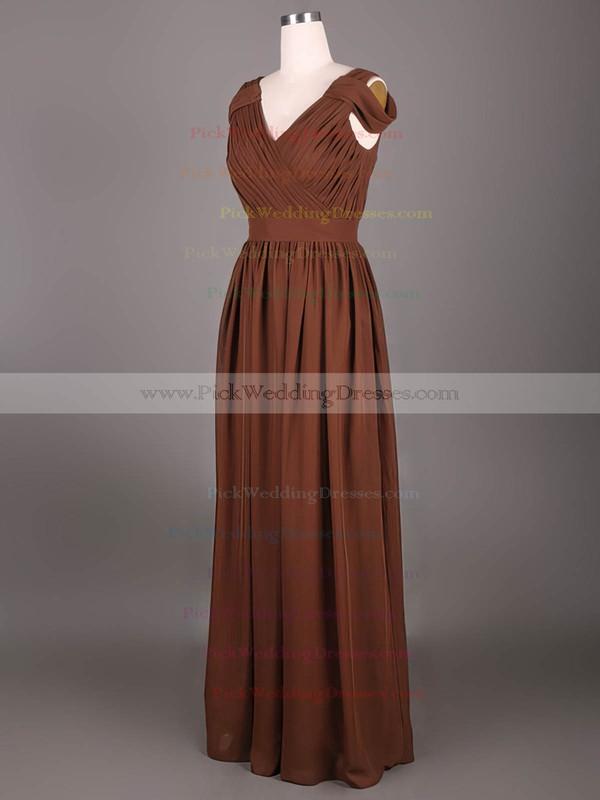 A-line Floor-length Chiffon Ruffles V-neck Bridesmaid Dresses #PWD01012387