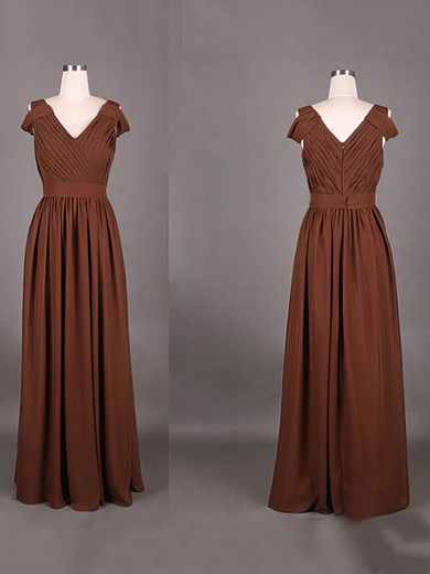 A-line Floor-length Chiffon Ruffles V-neck Bridesmaid Dresses #PWD01012387