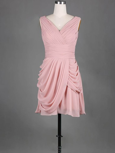 Ladies V-neck Pink Pleats Chiffon Short/Mini Bridesmaid Dress #PWD01012389