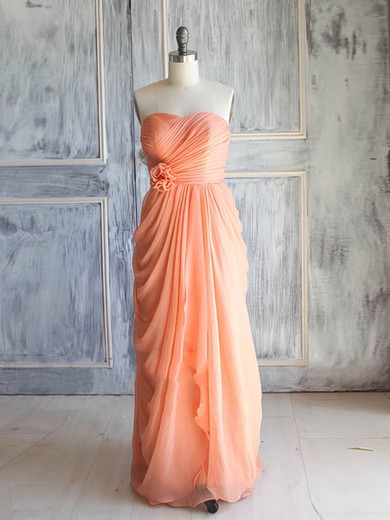 Orange Chiffon with Flower(s) Sweetheart Junior Bridesmaid Dress #PWD01012392