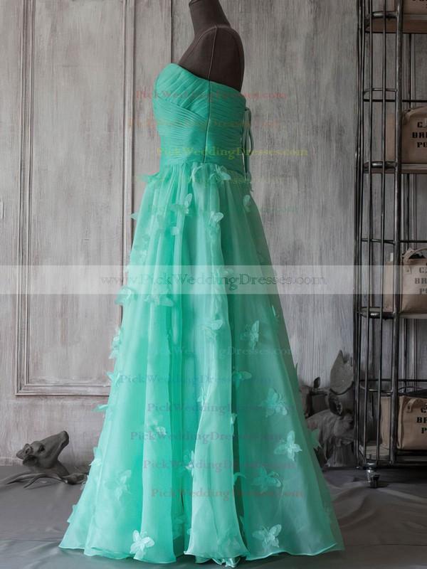 A-line Tea-length Organza Flower(s) Strapless Bridesmaid Dresses #PWD01012394