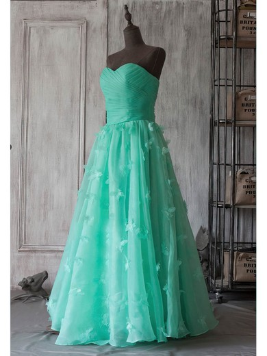 A-line Tea-length Organza Flower(s) Strapless Bridesmaid Dresses #PWD01012394