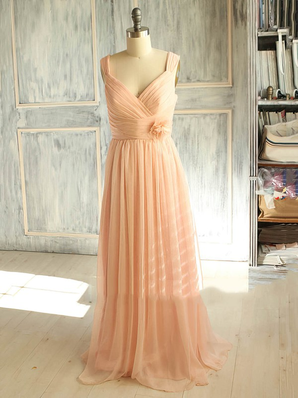 Classy V-neck Straps Chiffon Detachable Flower(s) Pink Bridesmaid Dress #PWD01012398