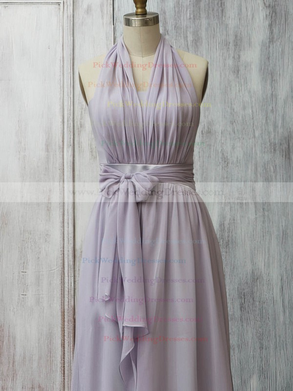 Juniors Lavender Chiffon with Ruffles Halter Bridesmaid Dress #PWD01012399