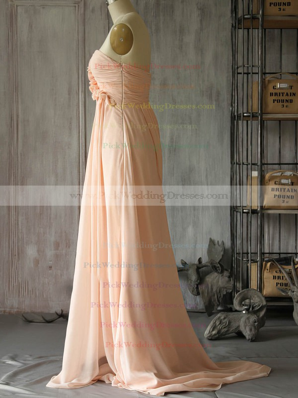 New Sweetheart Chiffon with Flower(s) Sweep Train Pink Bridesmaid Dress #PWD01012400