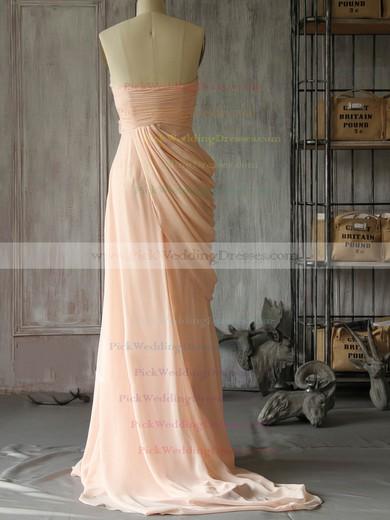 New Sweetheart Chiffon with Flower(s) Sweep Train Pink Bridesmaid Dress #PWD01012400
