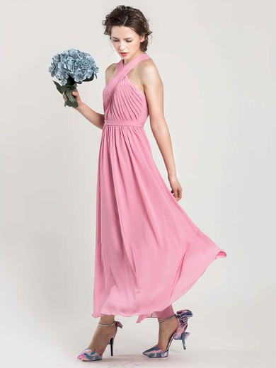 Pink Ankle-length Ruffles Chiffon Halter Pretty Bridesmaid Dress #PWD01012402