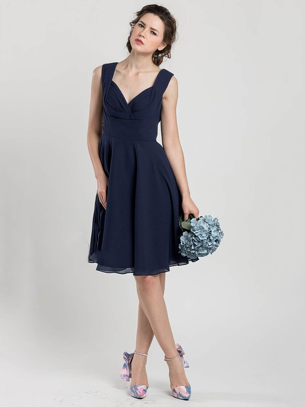 Summer Knee-length V-neck Chiffon Ruffles Dark Navy Bridesmaid Dress #PWD01012403