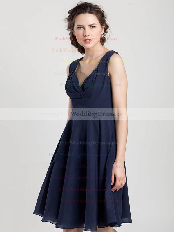 Summer Knee-length V-neck Chiffon Ruffles Dark Navy Bridesmaid Dress #PWD01012403