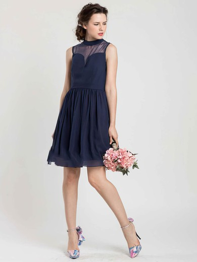 Short/Mini Dark Navy Chiffon Tulle Perfect High Neck Bridesmaid Dress #PWD01012404