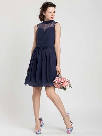 Short/Mini Dark Navy Chiffon Tulle Perfect High Neck Bridesmaid Dress #PWD01012404